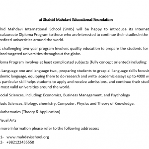 International Baccalaureate Diploma Program  at Shahid Mahdavi Educational Foundation